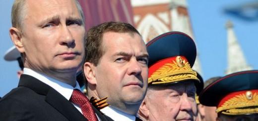 Владимир Путин и Дмитрий Медведев на праздновании Дня Победы