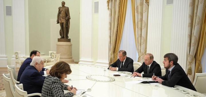 Встреча с Министром иностранных дел Сирийской Арабской Республики Валидом Муаллемом. Фото: kremlin
