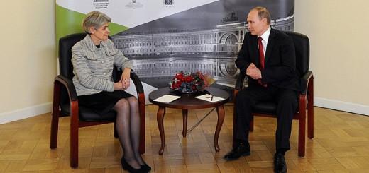 Владимир Путин с генеральным директором ЮНЕСКО Ириной Боковой. Фото: kremlin