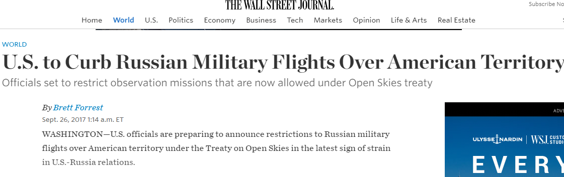 Игры в геополитике: США, Россия и Договор по открытому небу